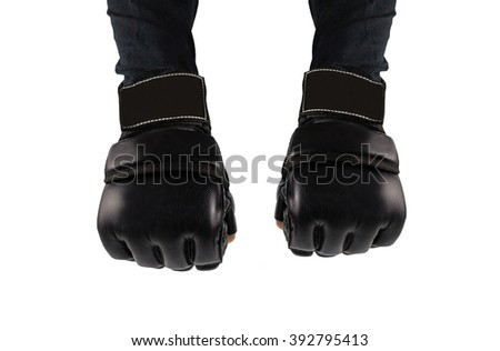 hands clenched into fists fighter. hands in gloves for martial arts. places to combat the logo. - stock photo