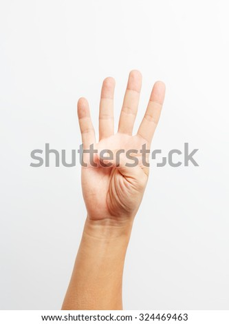 hands counting number four - stock photo