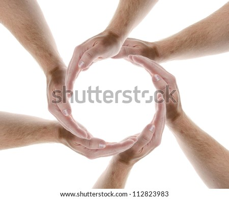 hands creating a circle isolate don white background - stock photo
