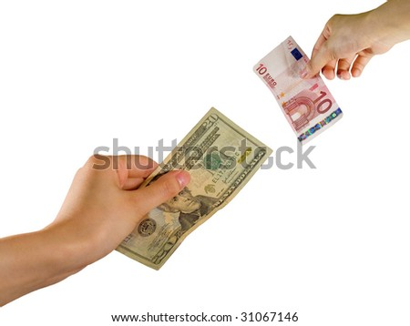 Hands exchanging dollar and pounds - stock photo