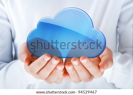 hands exhibiting the cloud computing symbol - stock photo