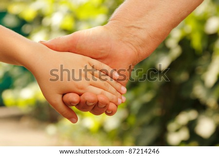 hands family nature outdoor - stock photo