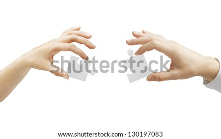 hands folded puzzle on a white background - stock photo