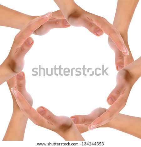 Hands forming circle isolated on white background. - stock photo