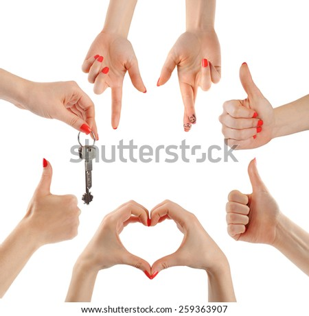 Hands. Gesture. Collection. - stock photo