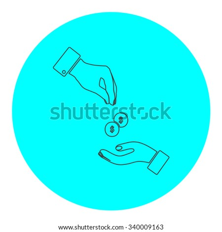 Hands Giving and Receiving Money. Black outline flat symbol on blue circle. Simple illustration pictograh on white background - stock photo