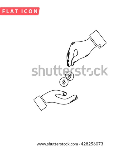 Hands Giving and Receiving Money. Black outline simple pictogram on white. Line icon - stock photo