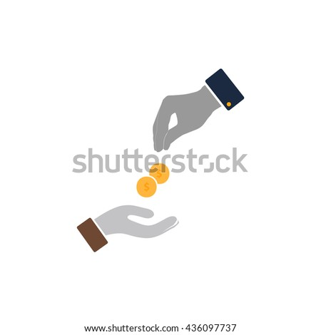 Hands Giving and Receiving Money. Color simple flat icon on white background - stock photo