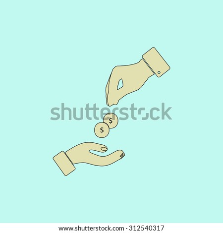 Hands Giving and Receiving Money. Flat simple line icon. Retro color modern illustration pictogram. Collection concept symbol for infographic project and logo - stock photo