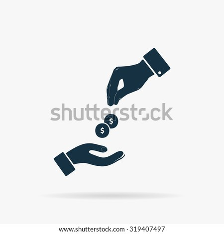Hands Giving and Receiving Money. Flat web icon or sign on grey background with shadow. Collection modern trend concept design style illustration symbol - stock photo