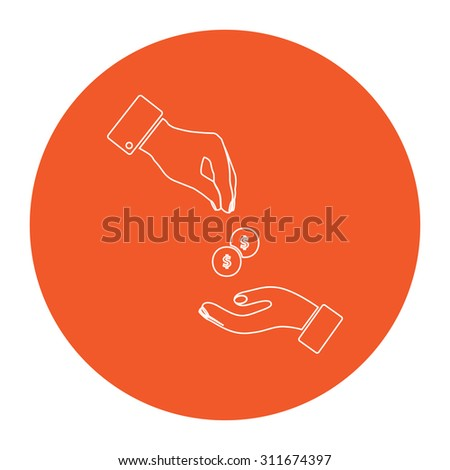 Hands Giving and Receiving Money. Flat white symbol in the orange circle. Outline illustration icon - stock photo