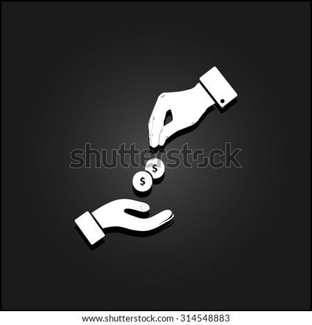Hands Giving and Receiving Money. White flat simple icon illustration with shadow on a black background. Symbol for web and mobile applications for use as logo, pictogram, icon, infographic element - stock photo