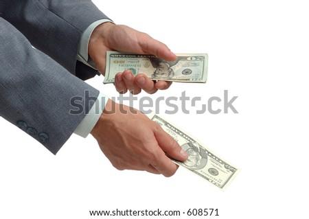 hands giving money - stock photo