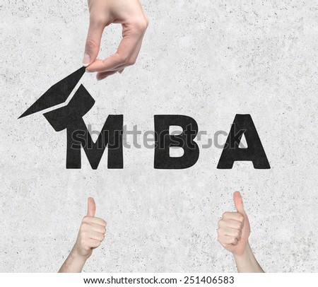 hands giving thumb up, business academy - stock photo
