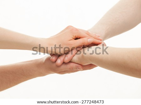 Hands group on white background - stock photo