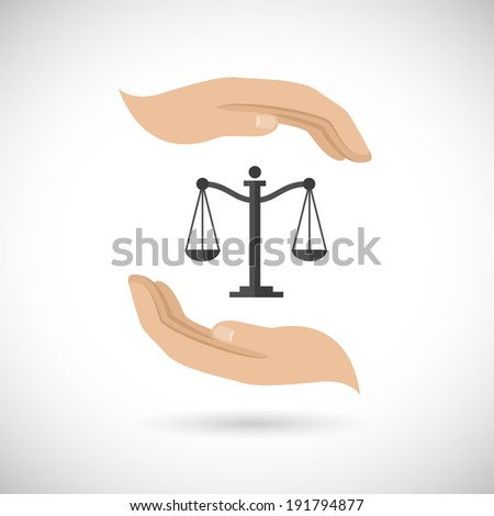 Hands hold and protect scales of justice and law concept  illustration - stock photo