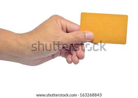 Hands hold business cards on white background with clipping path  - stock photo