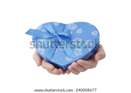 hands hold heart-gift on white background                    - stock photo