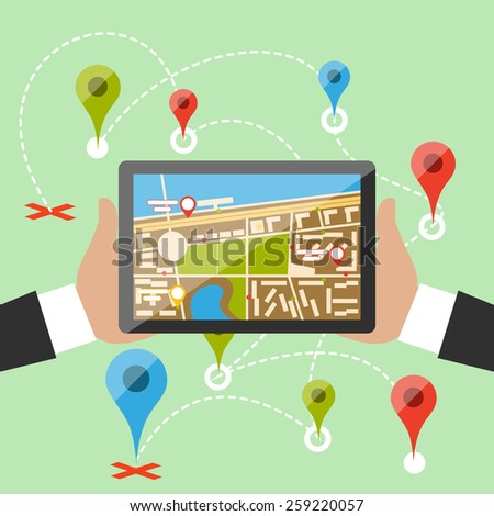 Hands hold smartphone with map of imaginary city with GPS icon and pin template of navigation system. Delivery concept in flat cartoon design style. Raster version - stock photo