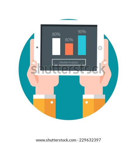 Hands hold tablet PC with graphs. Market analysis. Raster version - stock photo