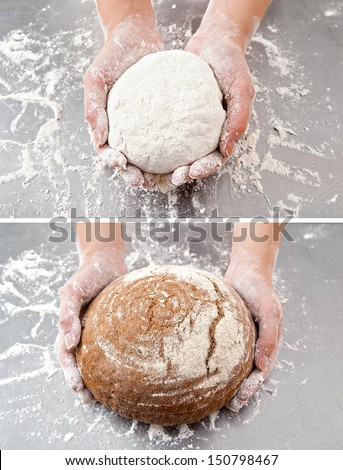 hands hold the dough and the bread on the background of the table with flour - stock photo
