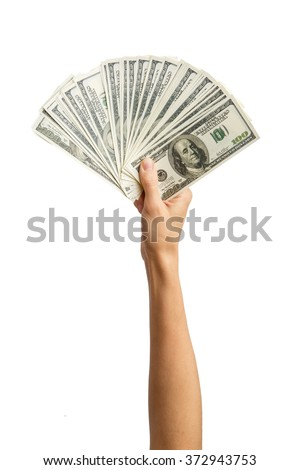 Hands holding a $ 100 bill . Hands holding a lot of money . Isolated on white background. Alpha.   - stock photo