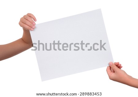 hands holding a blank piece of paper isolated on white background - stock photo
