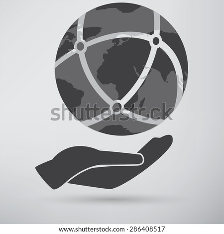 Hands holding a blue earth - stock photo