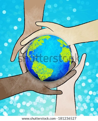 Hands holding a green earth. Earth day. - stock photo