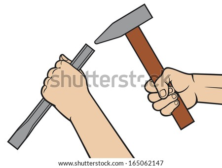hands holding a hammer and chisel (hammer in hand, chisel in hand) - stock photo