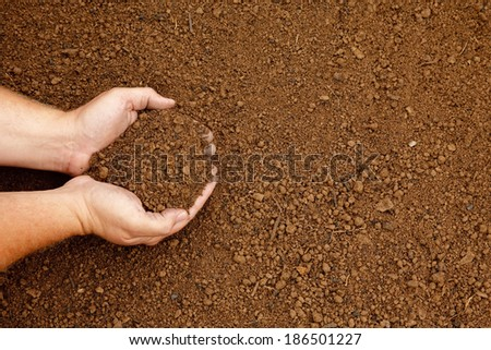 Hands holding a handful of fine rich soil - stock photo