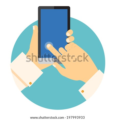 Hands holding a mobile phone circular icon with one finger touching and activating a point on the blank touchscreen in a communications concept - stock photo