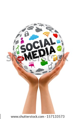 Hands holding a Social Media Sphere - stock photo