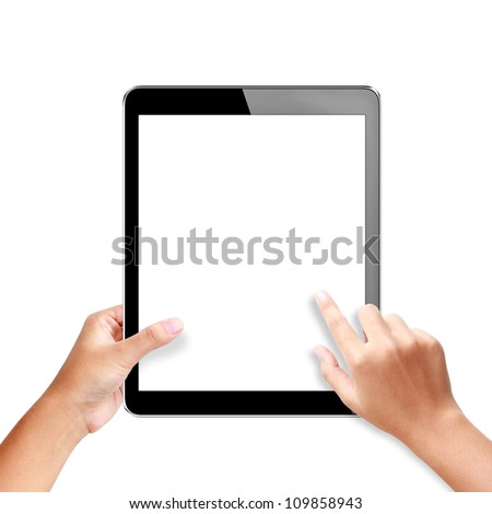 hands holding a tablet with isolated screen - stock photo
