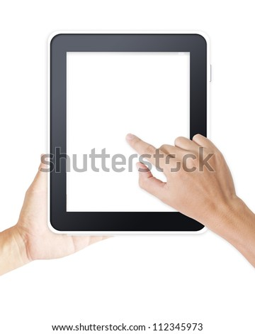 Hands holding and point on digital tablet - stock photo