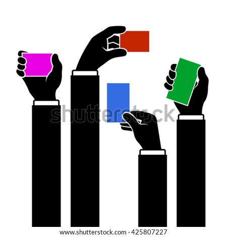 Hands Holding Blank Business Card, illustration - stock photo