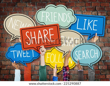 Hands Holding Colorful Speech Bubbles Social Media Concept - stock photo