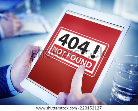 Hands Holding Digital Tablet Forbidden Website - stock photo