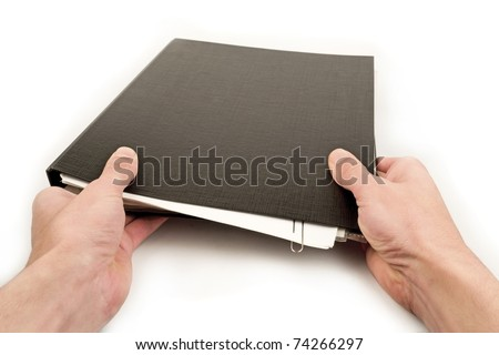hands holding folder isolated on white - stock photo