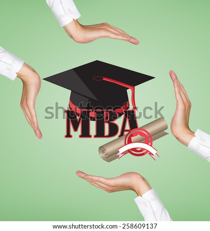 hands holding graduation cap and mba symbol - stock photo
