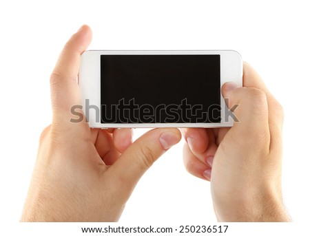 Hands holding mobile smart phone isolated on white - stock photo