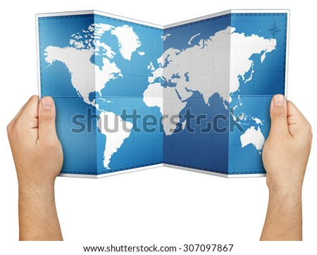 Hands holding open folded world paper map isolated  - stock photo
