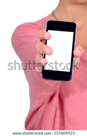 hands holding phone isolated in white - stock photo