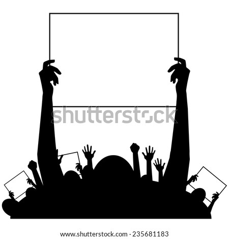 Hands holding protest signs background  - stock photo