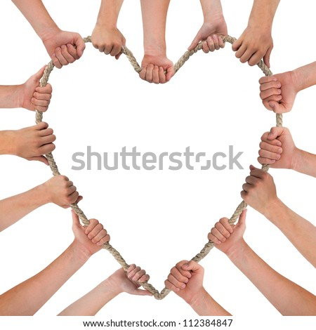 Hands holding rope, heart shape, with space for text - stock photo