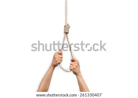 Hands holding rope slipknot in concept suicide isolated on white background - stock photo
