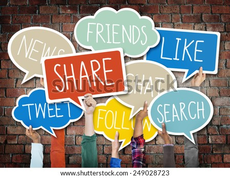 Hands Holding Speech Bubbles with Social Media Words - stock photo