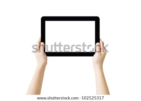 Hands holding Tablet PC, isolated, clipping path - stock photo