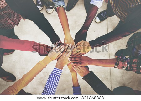 Hands Holding Teamwork Cooperation Togetherness Concept - stock photo
