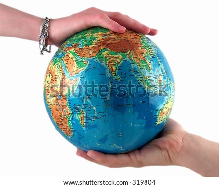 hands holding the earth, clear white background - stock photo
